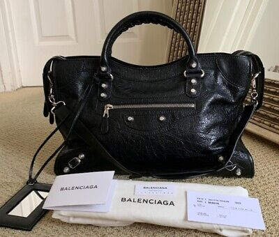 e54b6d91c0 New Balenciaga Giant 12 Black Silver Hardware Agneau Lambskin City Bag  281770
