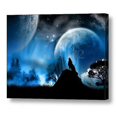 Wolf Moon Modern Canvas Oil Painting Print Picture Home Wall Art Decor No Frame