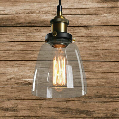Industrial Chandelier Clear Glass Lamp Shade Ceiling Fixture Pendant Light USA