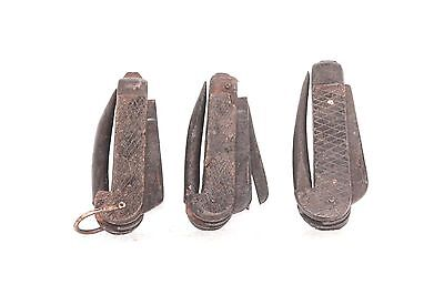 3 Pc. Iron Knife Wooden Handle Old Vintage Antique Home Decor Collectible P-13