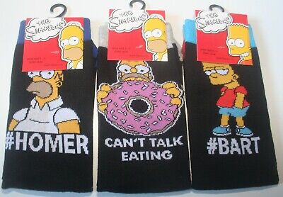 """HOMER//CAN/'T TALK EATING BNWT 2 PAIRS /""""THE SIMPSONS/"""" BLACK SOCKS SIZE 6-11"""
