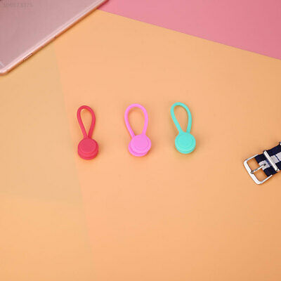B274 CF53 3Pcs Earphone Cable Wire Tidy Soft Sillicone Magnetic Winder Organiser