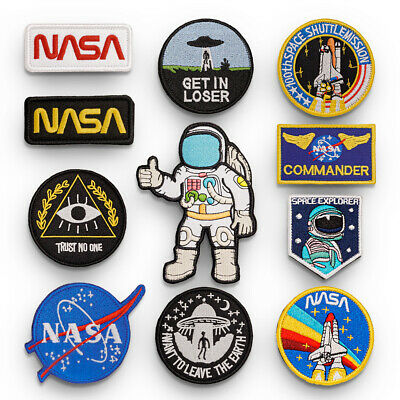 Astronaut NASA Embroidered Sew On Hook Loop Patch Badge Bag Fabric Craft Sticker