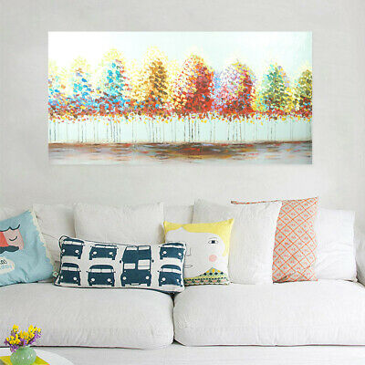 Hand Painted Art Canvas Oil Painting Modern Abstract Home Decor Framed Trees