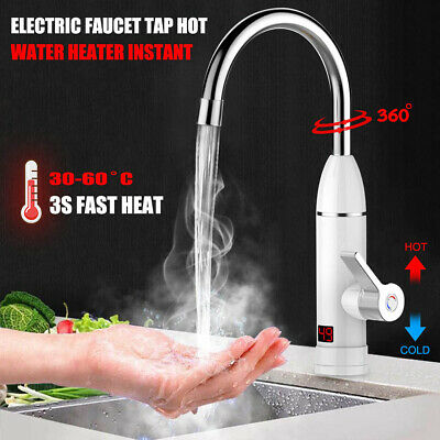 Electric Faucet Tap Hot Water Heater Instant Bathroom Kitchen Home LED Display