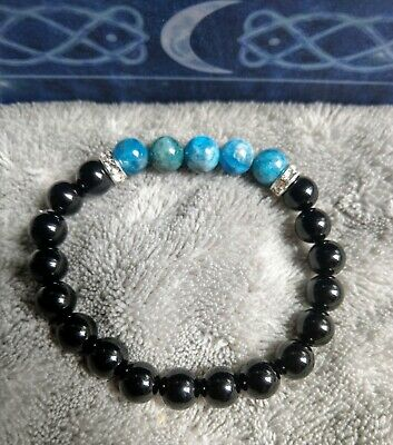 black tourmaline and apatite bracelet protection and grounding crystal healing