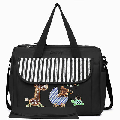 Black 2pcs Set Mummy Maternity Changing Bag Baby Nappy Diaper Wipe Clean Cute