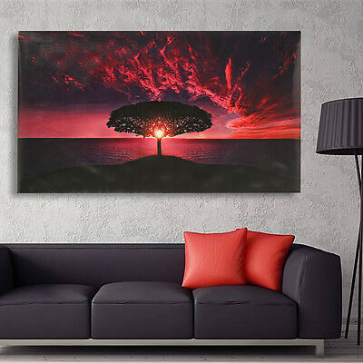 Sunset Glow Clouds Tree Canvas Print Art Painting Picture Huge Home Wall Decor