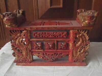 Antique Vintage Tradionally Carved Wood Timber ? Balinese Offerings Table/stand