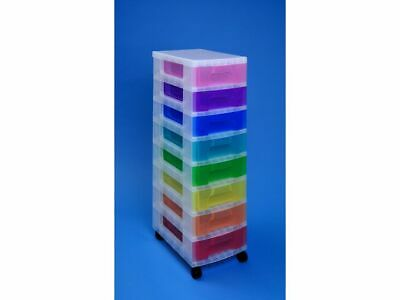 Storage Boxes Really Useful Tower Clear Rainbow Multicoloured Boxes