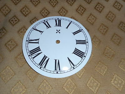 "Round HAC Paper Clock Dial- 5"" M/T- Roman-GLOSS WHITE - Face/Clock Parts/Spares"