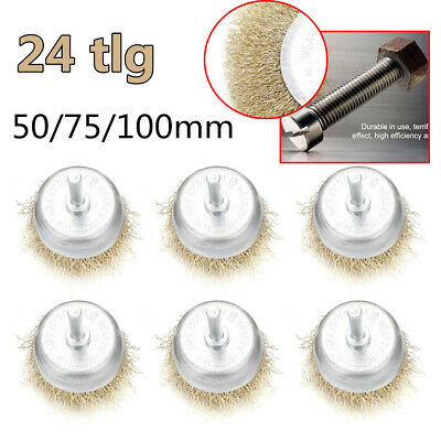 24X Steel Wire Wheel Brush Rotary Buffing Rotary Disc Polishing Drill Bit 4 Size