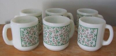 Lot Of 6 Vintage Termocrisa Flowered Coffee Mugs - Made In Mexico