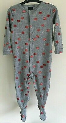 Ex N_XT Baby Boy Red Bus Transport Sleepsuits Babygrow x 1 Age 12/18 Months