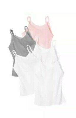 Hanes Girls Cami 5-Pack Breathable Cotton Fabric Size Lg 10-12 White Pink Gray
