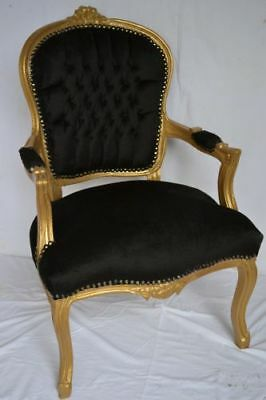 Louis Xv Arm Chair French Style Chair Vintage Furniture Black And Gold Wood