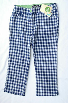 NEW MINI BODEN Girl Cropped Blue white Check Pants Trousers Size 9 NWT Summer