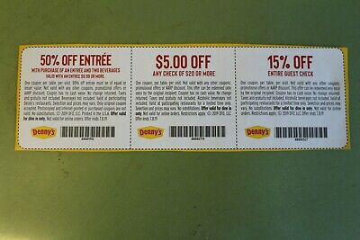 3 Denny's Coupons - 15% Off Entire Check, $5.00 on $20.00, 50% Off 2nd Entree