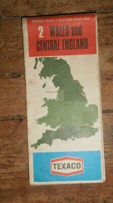 """Wales and Central England road map, Texaco Geographia No.2. 5miles:1"""". 70s paper"""