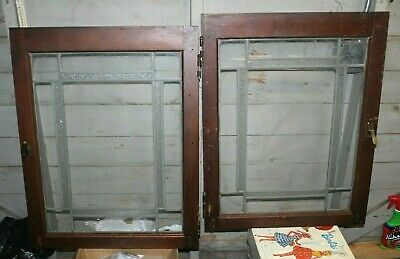 Set Of 2 Antique Framed LEADED STAINED GLASS CABINET Door / Windows 24 x 31 Each