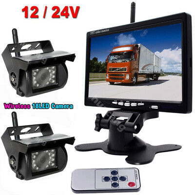 "12V-24V 7"" Wireless LCD Car Monitor +Bus Truck TV 18LEDs Backup Rear View Camera"