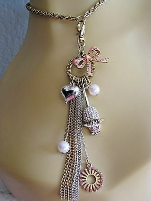 Betsey Johnson Vintage Ice Princess Mouse Bow Heart Fob Charm Necklace~Rare