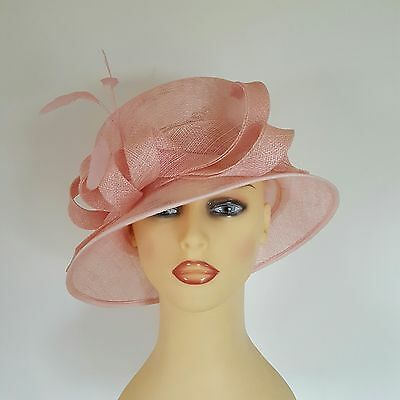 dd59d67a Ladies Wedding Hat Races Mother Bride Ascot Hat Salmon Pink Feathers Balfour