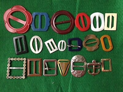 Lot of 20 Vintage Belt Buckles Celluloid Metal Plastic Mother of Pearl Shell Sco