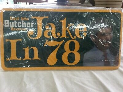 1978 Elect Jake Butcher for Governor of Tennessee License Plate Jake in '78 NOS