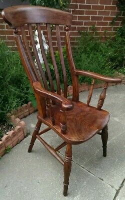 Antique ELM Windsor Lathback Elbow Chair DELIVERY POSSIBLE