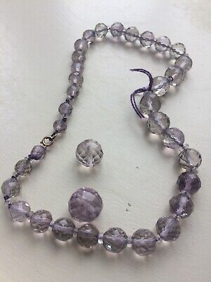 Art Deco Faceted Amethyst Round Beads RESTRING C1930