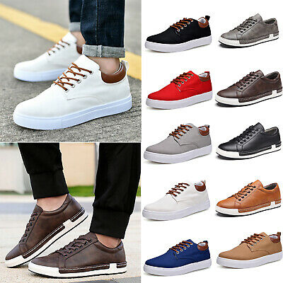 Mens Boys Canvas Sneakers Trainers Lace Up Sports Pumps Casual Plimsolls Shoes