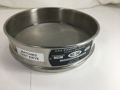 """Stainless Steel Fisher Scientific No. 140 Usa Standard Testing Sieve 8"""" - Used"""