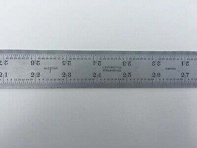"STARRETT 48"" Long, 1/32"", 1/64"", 1/16"", 1/8"" Tempered Satin Chrome Ruler"