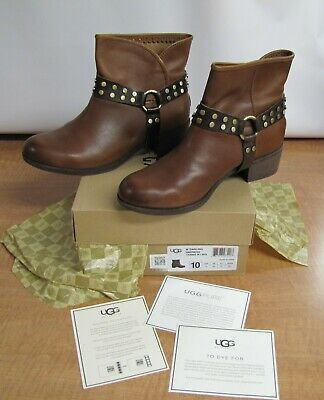a77368fd7e2 WOMEN'S UGG AUSTRALIA Darling Harness Brown Leather Ankle Boots sz ...