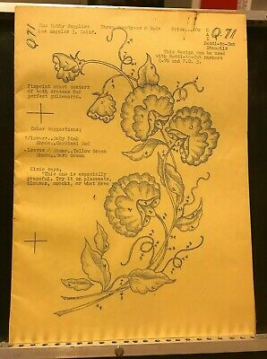 Kaz Reddi-to-Cut Q71 Wax Stencil for Textile Painting Sweetpeas Vintage Used