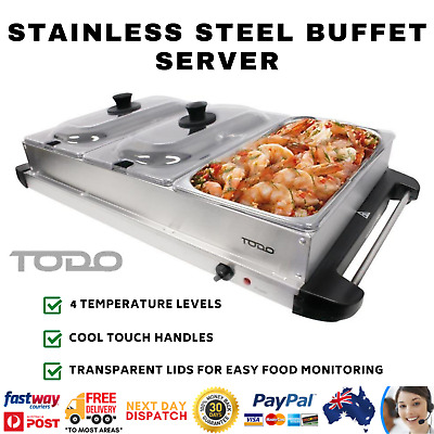 TODO Buffet Server Grill Electric Hot Food Warmer Meal 3 Non Stick Trays Lids