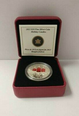 2013 $10 Silver Coin - Holiday Candles - 99.99% Fine Silver