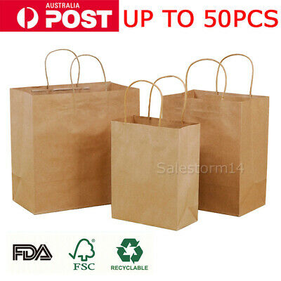 UP 50X Kraft Paper Bags Bulk Gift Shopping Carry Craft Brown Bag with Handles OZ