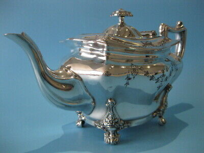 Extremely Nice Quality Antique Silver Plated Regency Style Footed Teapot