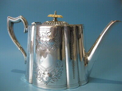 Beautiful Antique Silver Plated Ornate Victorian Repousse Hand-Engraved Tea Pot