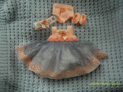 """L@@K Beautiful Hand Made Blue & Peach Dress Set For 10"""" Reborn Baby Doll New"""