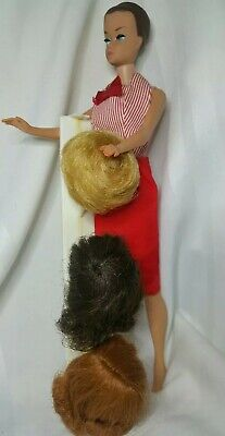 Vintage Fashion Queen Barbie w/ Original Wigs & Stand in Busy Gal pieces. NICE!