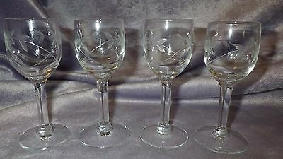 Vintage Etched Cordial Liqueur glasses Javit Crystal Company 4 2 oz footed stems