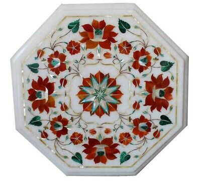 """12"""" Rare Antique White Marble Floral Inlay Art Side Coffee Table Top Pietra Dura"""