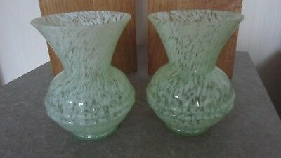 SALE Pair Art Deco Green & White Fleck Art Glass Vases Collectible Home Gift VGC
