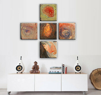 Large Abstract Painting Set of 5 panels Acrylic Fluid Art on Canvas by Nata