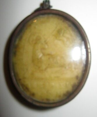 Antique Reliquary / Pendant With Wax Insert Etched Image Of Lamb And Saint