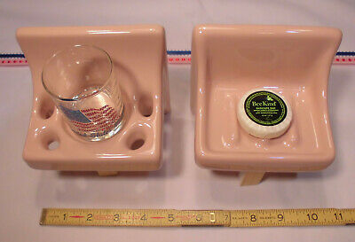 Corallin Pink Glossy Ceramic Soap Dish...Cup & Toothbrush holder  New Old Stock
