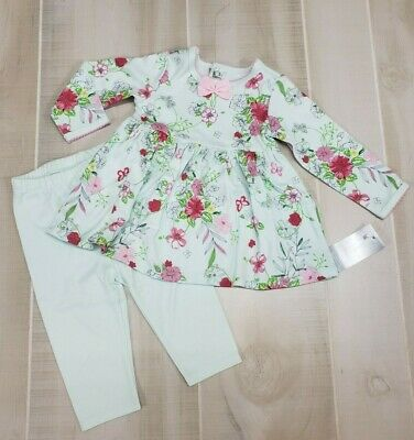 FIRST IMPRESSIONS Baby Girl 3-6 Month Outfit Mint Green Pants & Floral Top Set